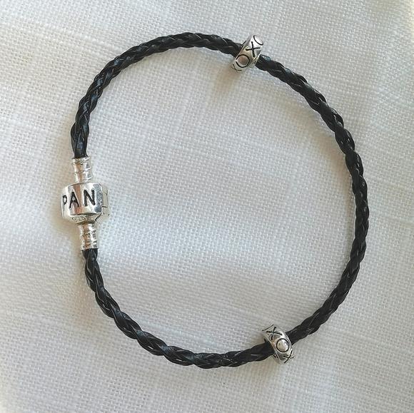 NWOT Pandora cord bracelet black + spacer charms